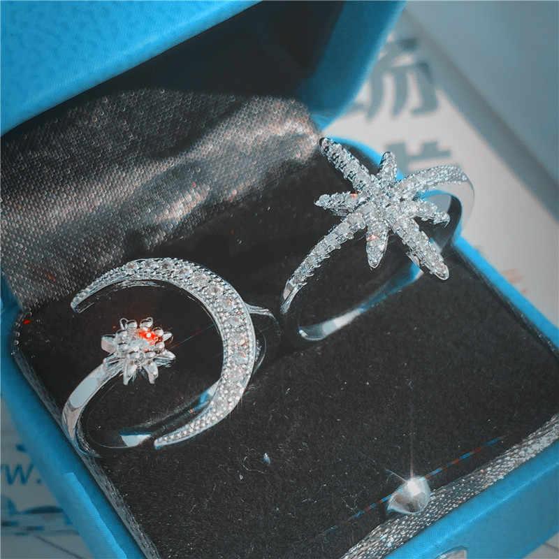 Choucong Moon Star Promise Ring 5A Циркон Камень Настоящее 925 пробы серебряные обручальные кольца для женщин вечерние ювелирные изделия