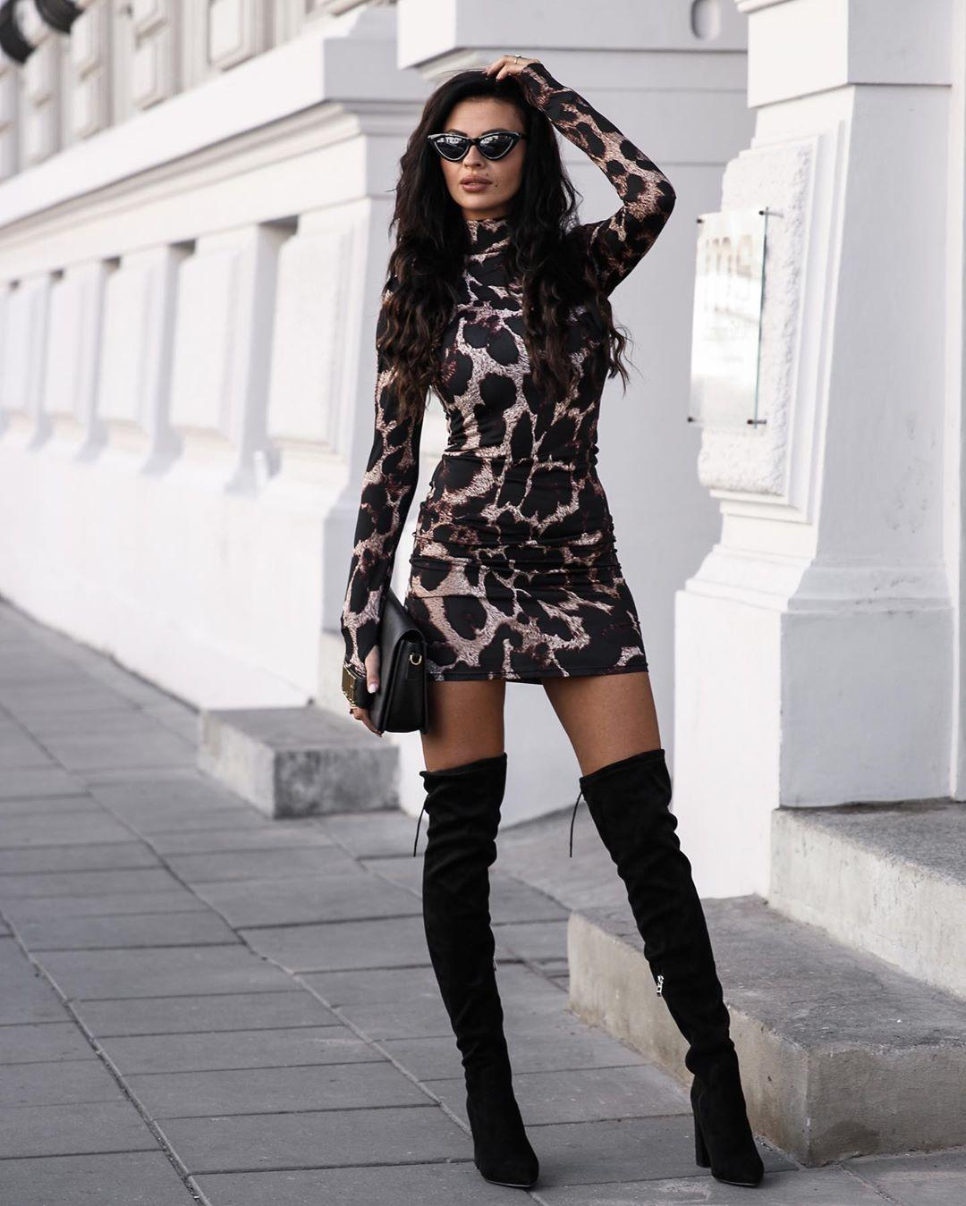 Women's Snake Skin Print Turtleneck Long Sleeve Dress 2019 Autumn Women Bodycon Mini Dress Female Club Vestidos