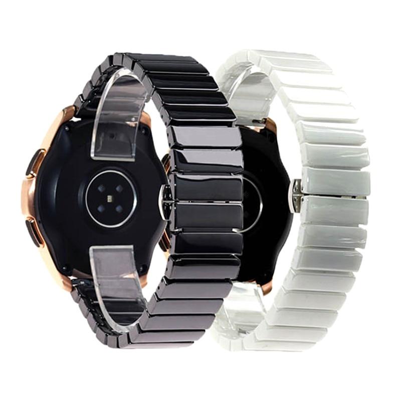 Модный черный белый керамический 16 18 20 22 мм широкий ремешок для часов Huawei Браслет FITBIT Samsung Мужские Женские часы ремешок браслет