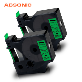 Absonic 2PK for Dymo D1 40919 Label Tape Cartridge Black on Green Printer Ribbon for Manager 160 210D 280 360D 420P Label Maker фото