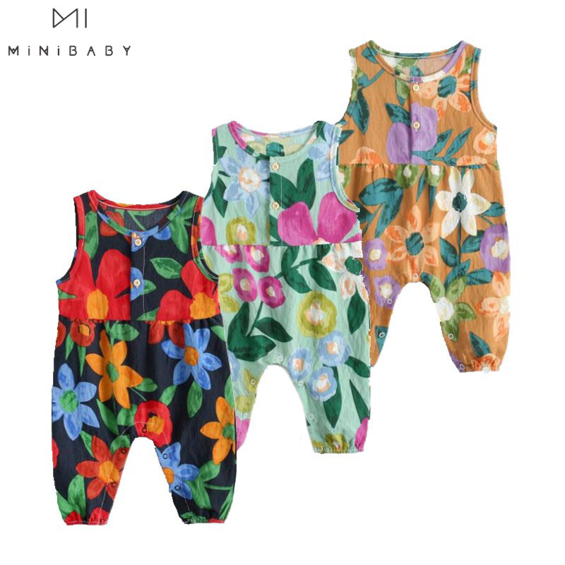 Summer New Arrival Fashion Newborn Baby Girls Sleeveless Floral Print O-neck Romper Girls Infant Jumpsuit Cotton Outfit Clothes