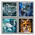 Wolf Eagle Animal DIY 5D Diamond Painting, Embroidery Full Round Drill Picture Craft Arts Cross Stitch for Home Wall Decor