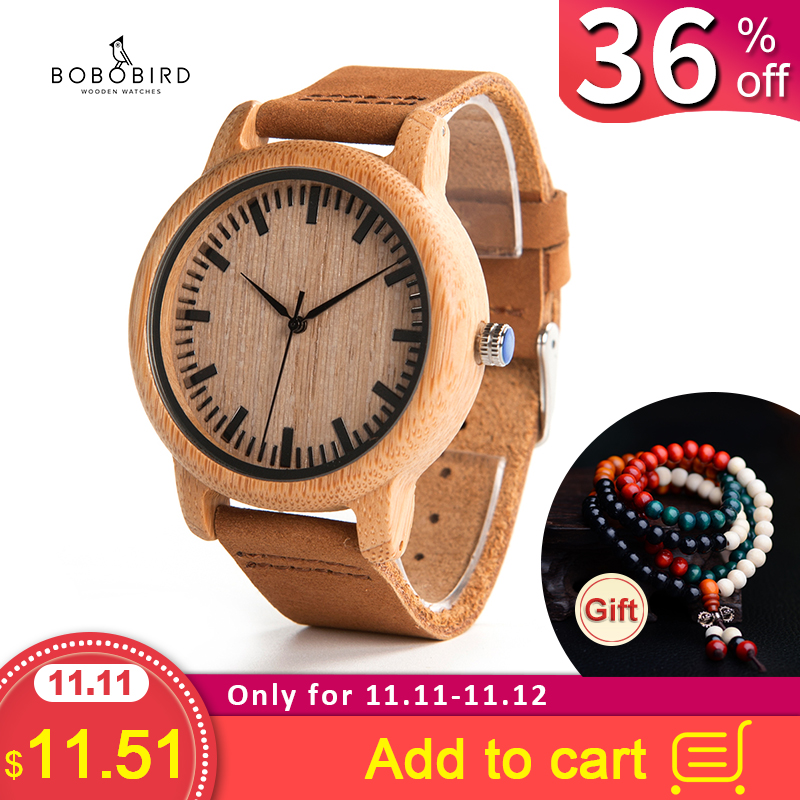 BOBO BIRD Mens Watches Top Brand Luxury Women Watch Wood Bamboo Wristwatches With Leather Strap Relogio Masculino DROP SHIPPING