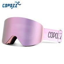 Copozz profissional óculos de esqui de inverno magnético rápido-mudança dupla camadas anti-nevoeiro snowboard óculos de proteção masculino feminino equipamento de esqui