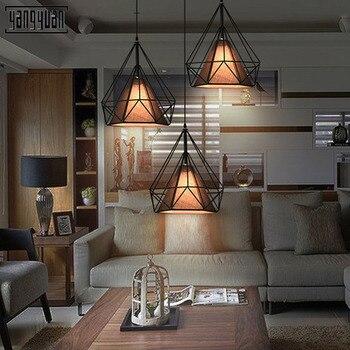 Besi Modern Industri Lampu Gantung Diamond Lampu Gantung LED 96-240V Lampu untuk Ruang Tamu Kamar Tidur Dapur Kamar Bar Hotel E27 cahaya