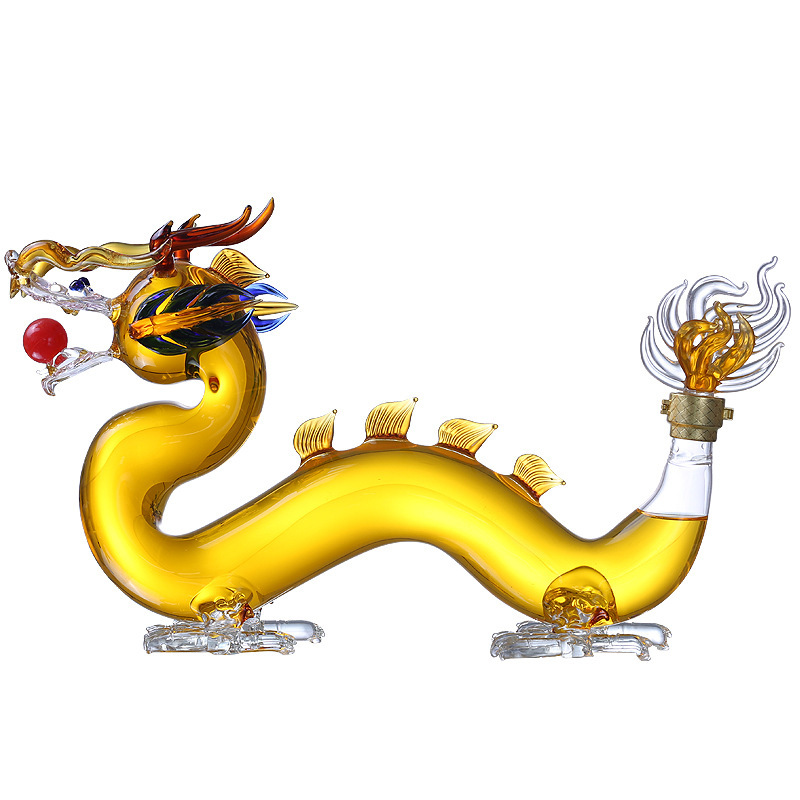 Lead-free chinese style Dragon animal shaped home party whiskey decanter for Liquor Scotch Bourbon DDC-202