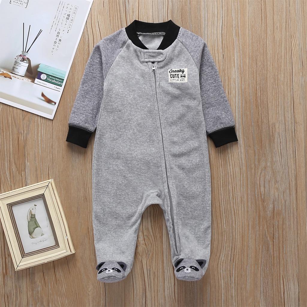 Комбинезон для маленьких девочек с рисунком единорога; зимняя одежда для новорожденных мальчиков с длинными рукавами; 0-12 месяцев; с круглым вырезом; на молнии; - Цвет: 12