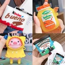 3D Kinder Bueno Schokolade Süßigkeiten silikon abdeckung Drahtlose lade bluetooth box für apple airpod 1 2 für airpods pro 3 nette fall