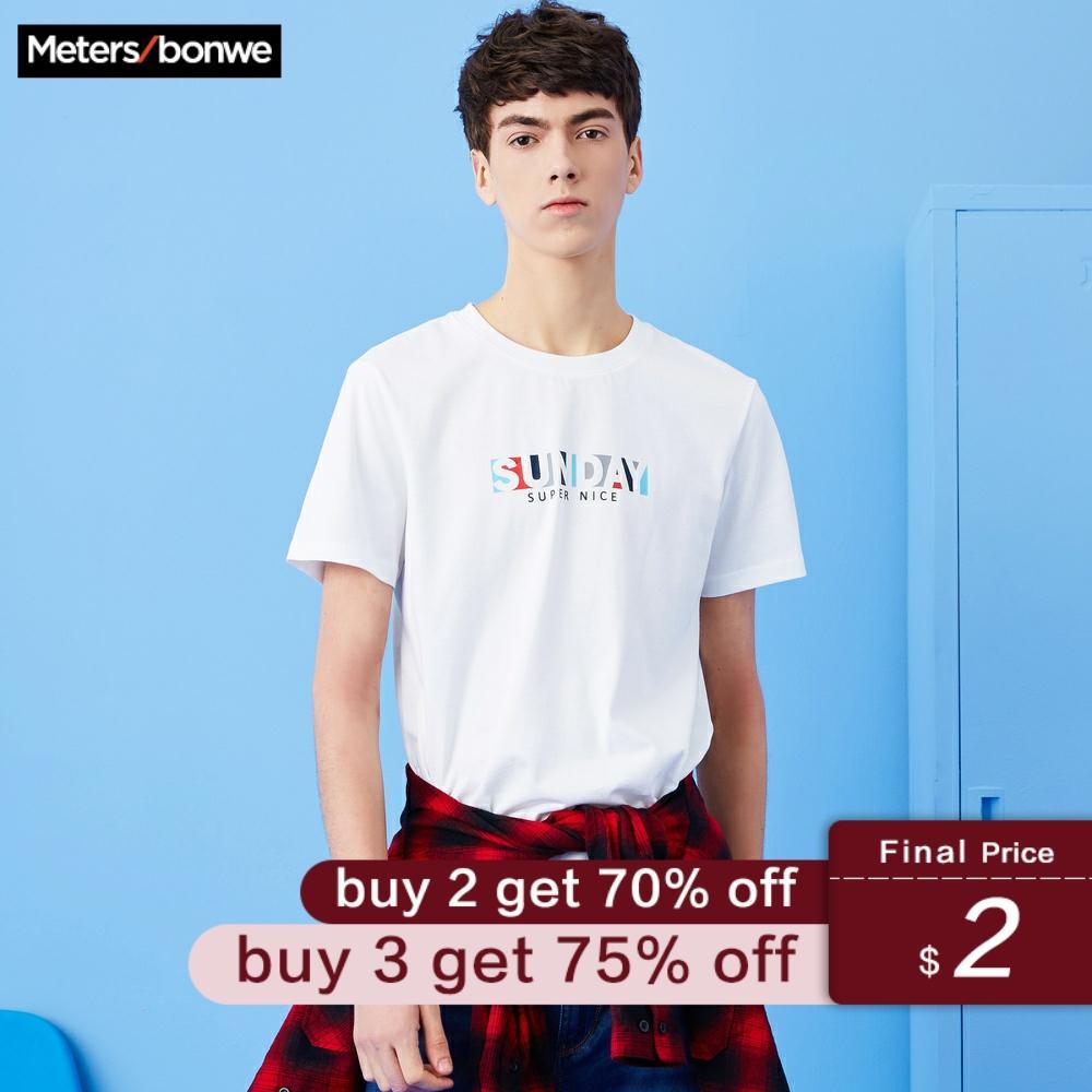 METERSBONWE Men Summer Trend T-Shirt Personality Printing Round Neck Cotton Short Sleeve Men'S Top футболка мужская