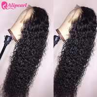 Pelo AliPearl pelucas parte profunda rizado frente de encaje pelucas de cabello humano para las mujeres negras brasileño 4x4 de cierre de encaje pelucas AliPearl peluca