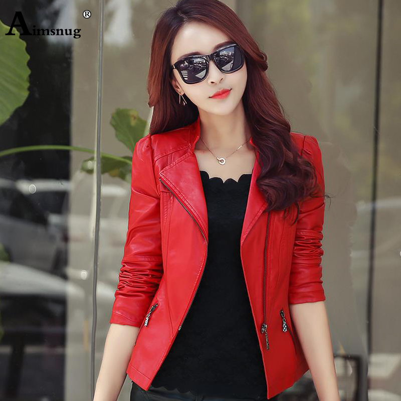 Aimsnug Faux Pu   Leather   Jacket Women Red Black 2019 Autumn Outerwear Pockets Zipper Office Lady Coat Slim Ladies Biker Jackets