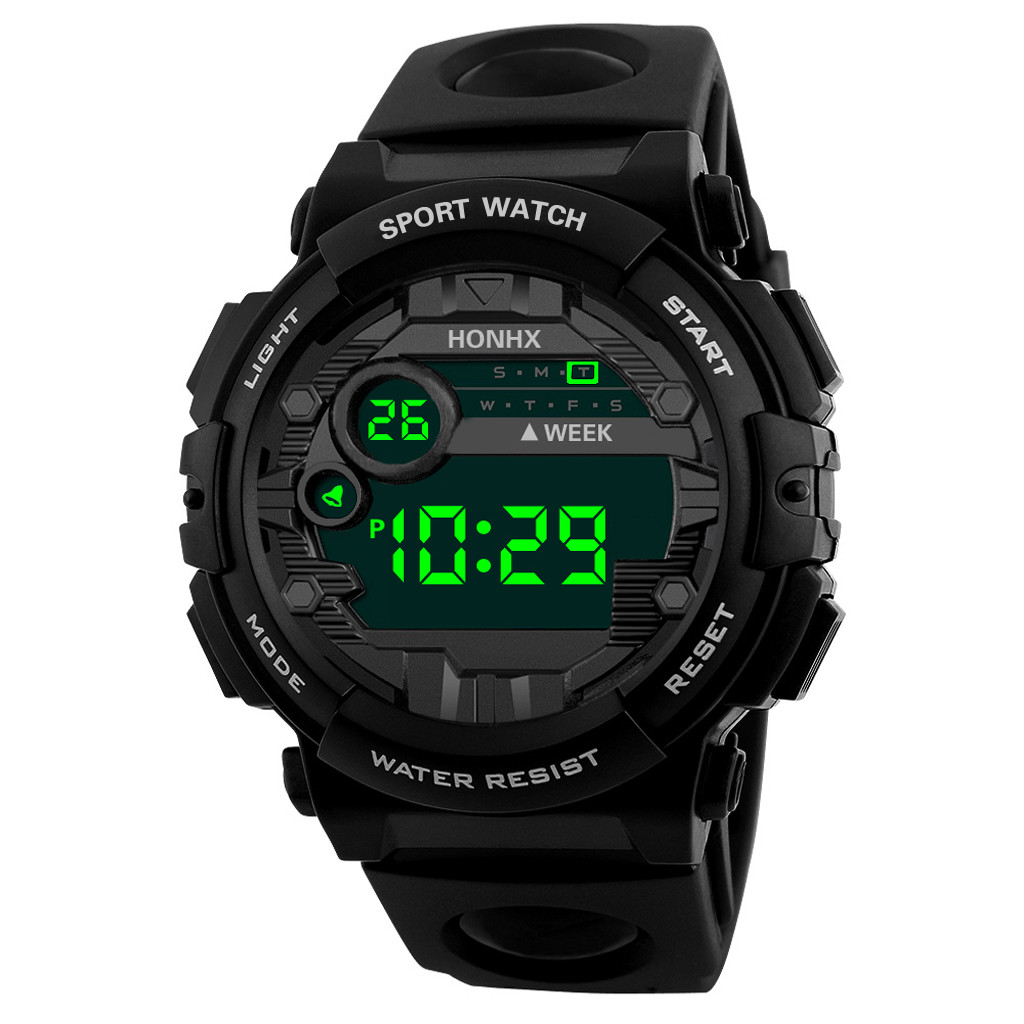 Waterproof Sports Children's Watch Outdoor Military Student Alarm Clock Fashion Digital LED Date Kids Boy Hour Black Watchband