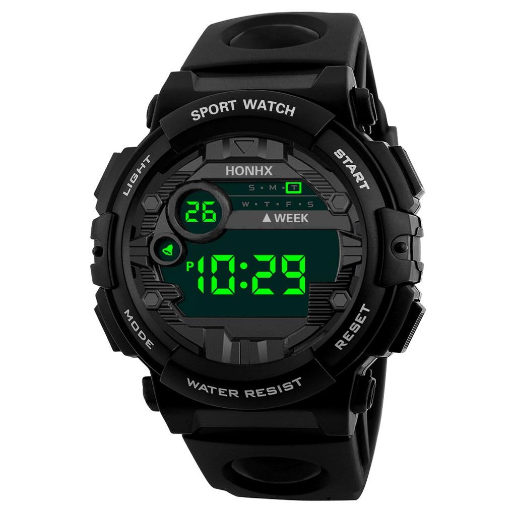 Waterproof Sports Children's Watch Outdoor Military Student Alarm Clock Fashion Digital LED Date Kids Boy Hour Black Watchband