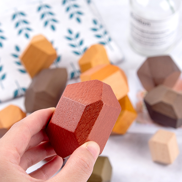 Newest Children Wooden Colored Stone Jenga Building Block Educational Toy Creative Style Stacking Block Game Rainbow