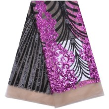 African Sequins Lace Fabric 2019 High Quality French Mesh Lace Fabrics With Two Colors Sequins For Nigerian Wedding Party F1758