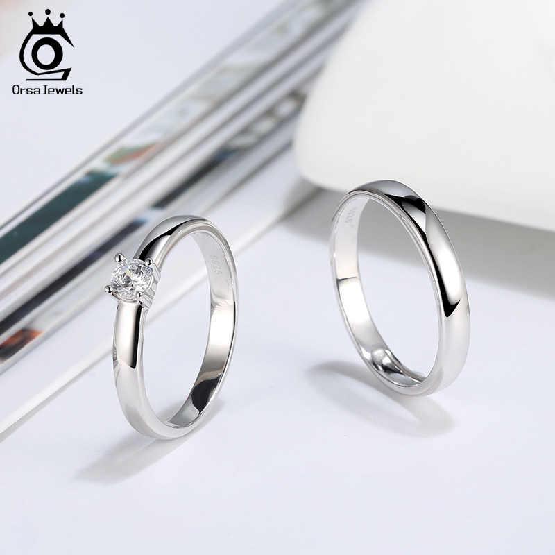 ORSA เครื่องประดับโรงงานขายส่งผู้ชายผู้หญิงแหวนชุด S925 เงินงานแต่งงานแหวนหมั้น Solitaire แหวนคู่ SR196