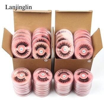LANJINGLIN Wholesale Bulk 4/40/50/100pcs 6D Mink Lashes Natural False Eyelashes Long Set faux cils Bulk Makeup wholesale lashes 1