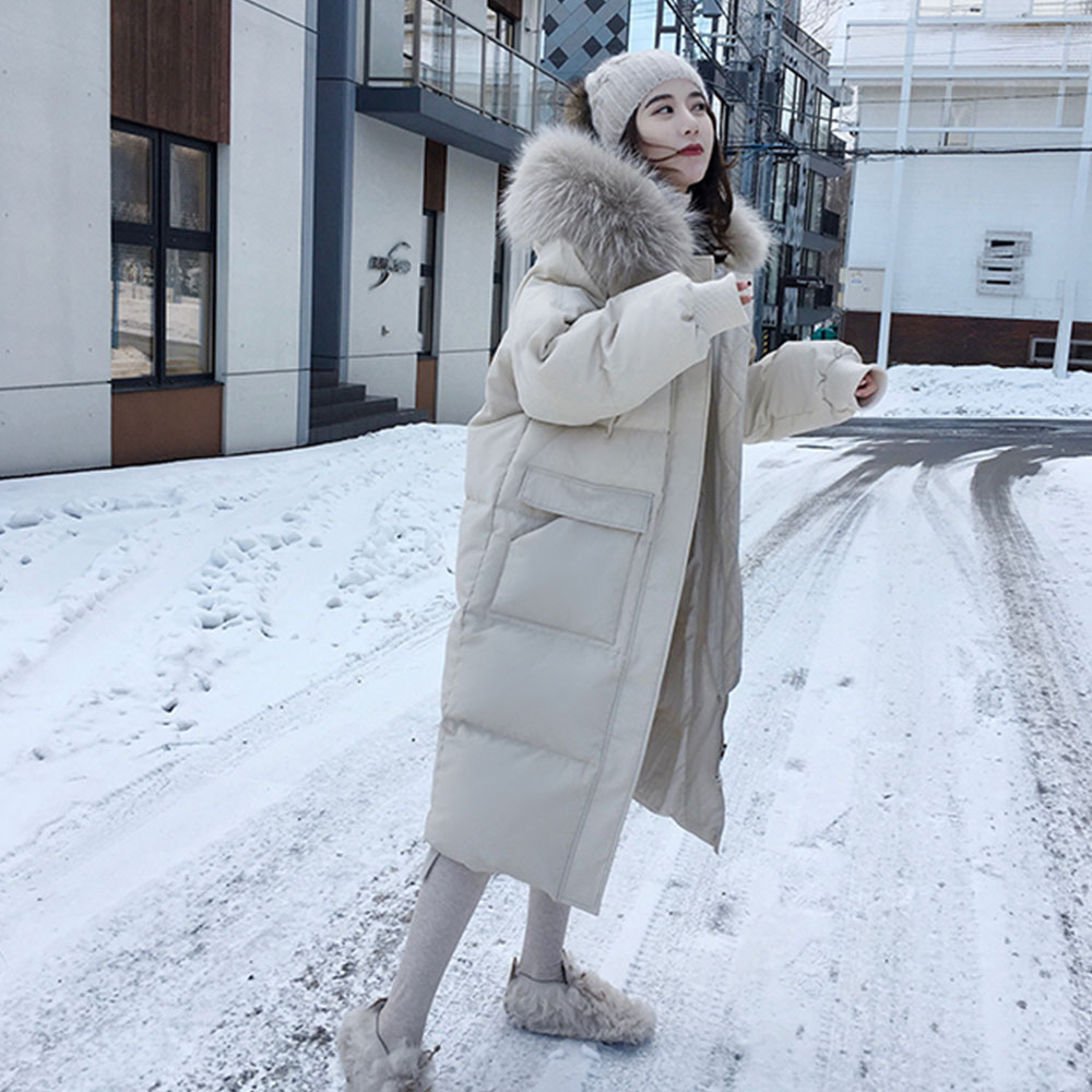 Cnjessie Women Double Sided Down Long Jacket Winter Turtleneck White Duck Down Coat Warm Parkas Snow Outwear