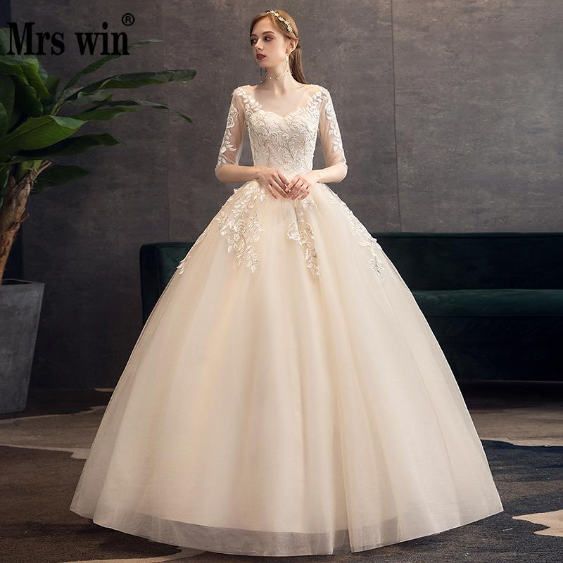 Mrs Win Weddind Dress 2020 Champagne Half Sleeve Sexy V-neck Floor-length Lace Up Ball Gown Vintage Wedding Dresses