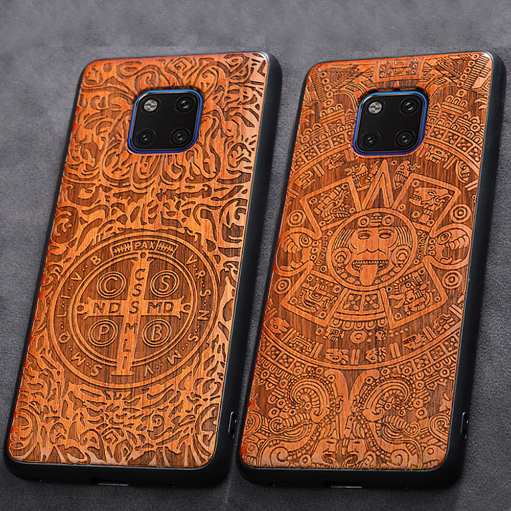 3D Carved Wood Cartoon Bear Case For Huawei Mate 20 Pro Dragon Lion Wolf Tiger Tree wooden carve Cover(China)