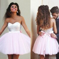 Pink Cocktail Dresses 2019 A line Sweetheart Short Mini Tulle Sequins Bow Elegant Homecoming Dresses