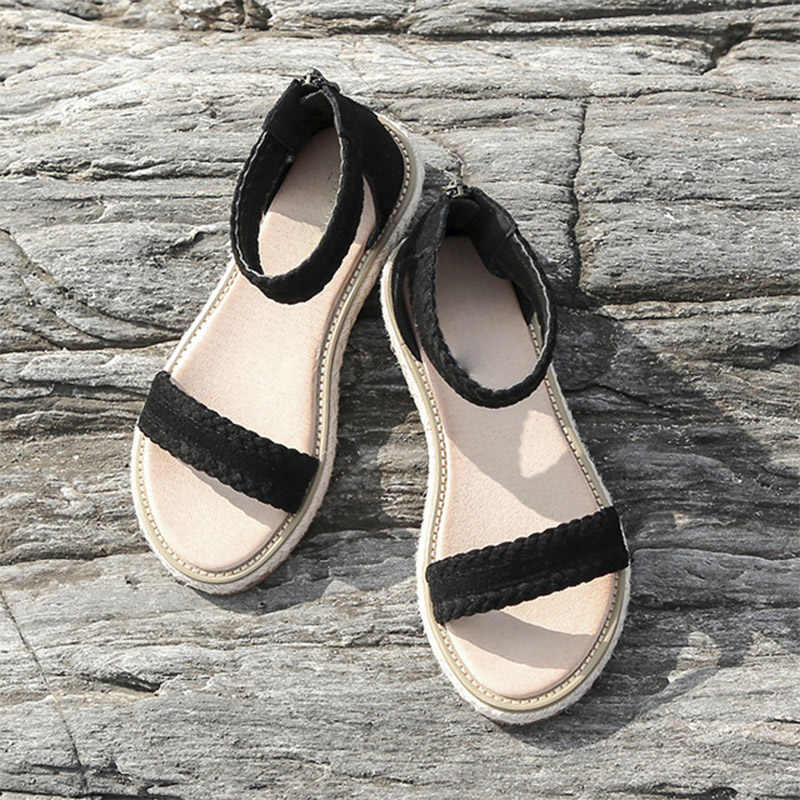 Sandali delle donne Femminile Copertura Zip Signore Donna Gladiatore Tacco Piatto Scarpe di Cuoio Genuino 2020 di Modo Della Spiaggia di Estate Calzature Casual