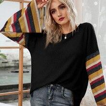 women blouses Stripe Print O neck tops blusas mujer de moda 2020 verano Streetwear plus size Tops kobiety płaszcze платья#4
