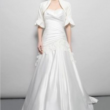 free shipping vintage bridal gown plus size maxi white long satin appliques mother