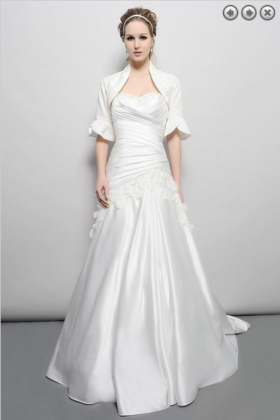 Free Shipping Vintage Bridal Gown Plus Size Maxi White Long Satin Appliques Mother Of The Bride Dresses With Jacket