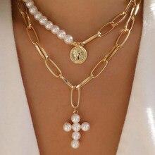 Colliers de perles multicouches avec pendentif en croix pour femmes, style bohème, ras du cou, en or, à la mode, nouveauté 2020