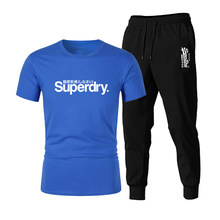 2021 new men's casual fashion printed T-shirt + pants suit casual sportswear two-piece suit