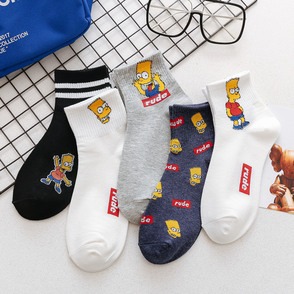 5 Pairs / Lot Socks Simpson Family Novelty Cute Socks Men Cartoon Ankle Sokken Funny Socks Harajuku Calcetines Skarpetki Unisex