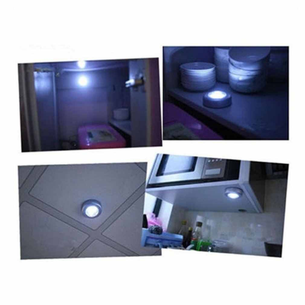 4 LED światła nocne sterowane dotykowo okrągła lampa pod szafka lampka na lampkę domu kuchnia sypialnia użytku samochodowego