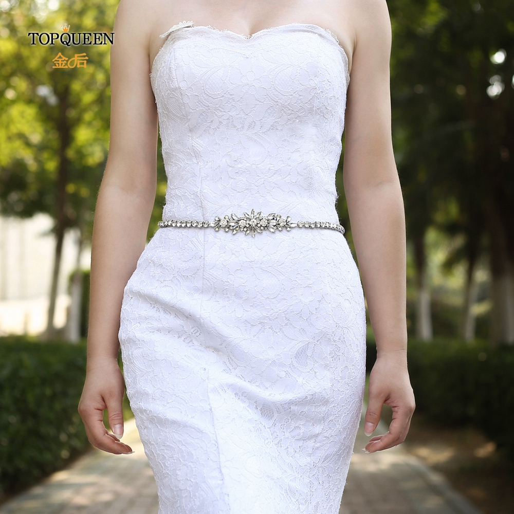 TOPQUEEN S166 Bridesmaid Belt Diamond Belts For Women Dressy Silver Belts For Women Rhinestone Sash For Formal Dress Bridal Sash