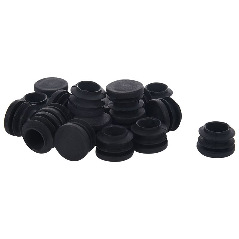 New-Blanking End Caps Round Tube Insert Cover 19mm Dia 20 Pcs Black