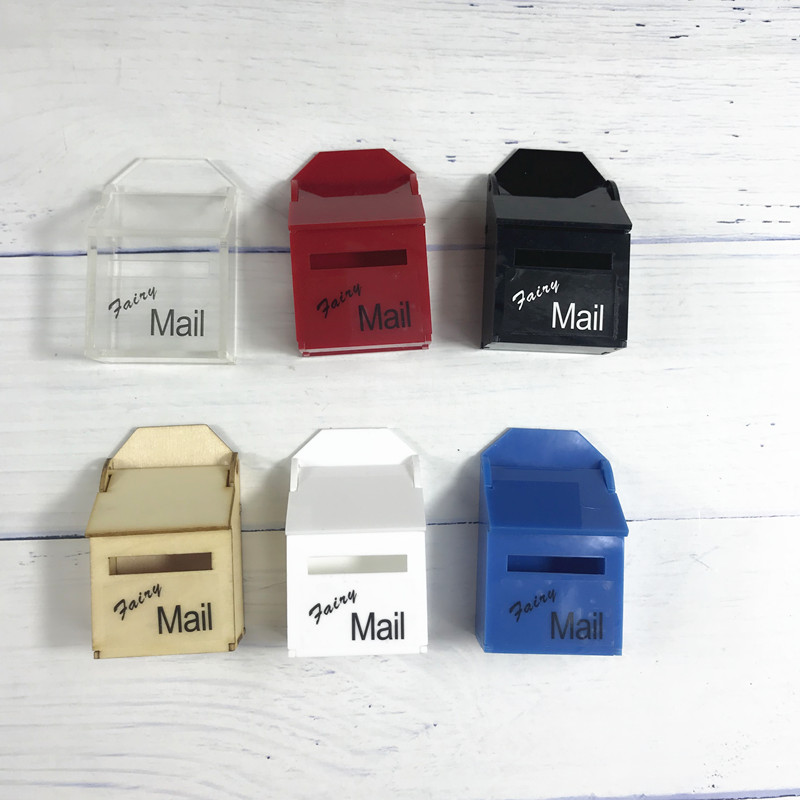 1:12 Miniature Wood Color Hand Made DIY Post Box Great Gift For Kid Pretended Play Magic Tooth Fair Mail Box WTH LED Light