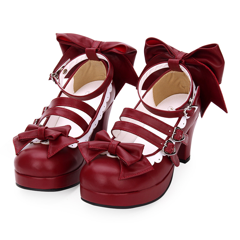 Sweet Lolita Chunky High Heels Burgundy Mary Jane Pumps Young Women Party Shoes