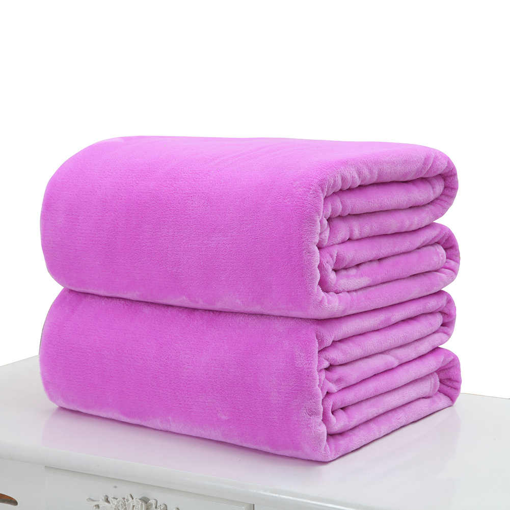 Soft Warm Solid Color Coral Fleece Flannel Blanket Bedspread Cover Winter Warm Sheets Blankets Sofa Office Home Textile 50*70cm