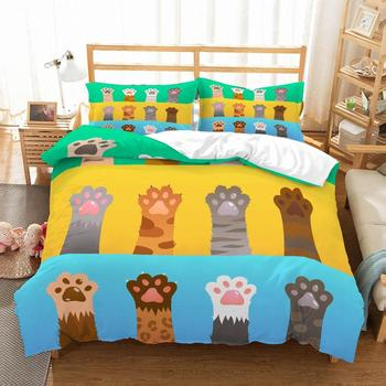 Cute Cats Paw 3D Printed Bedding Set Microfiber Cartoon Bed Linen Set with Pillowcase 2/3pcs Home Bedding AU/US/EU Size Bed Set 2