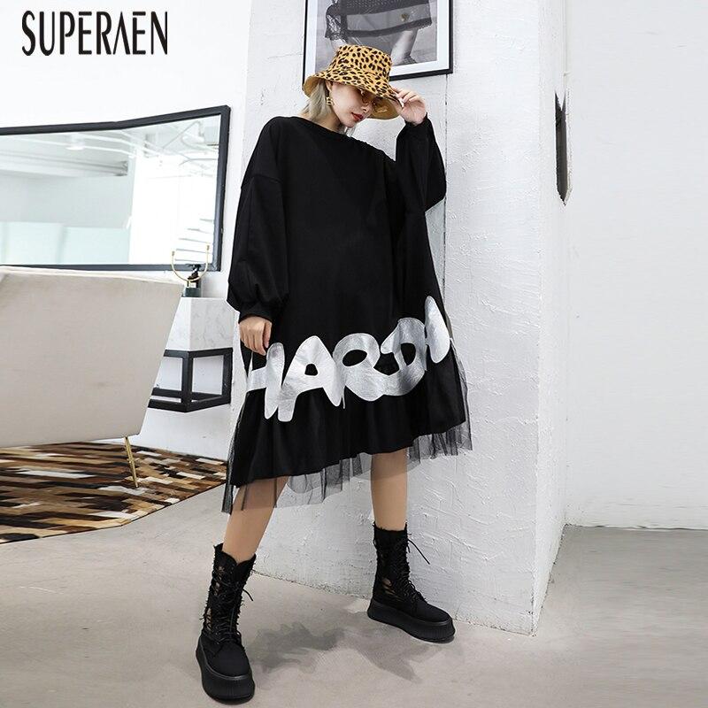 SuperAen Pluz taille mode femmes robe à manches longues 2019 nouveau printemps et automne décontracté maille couture dames robe