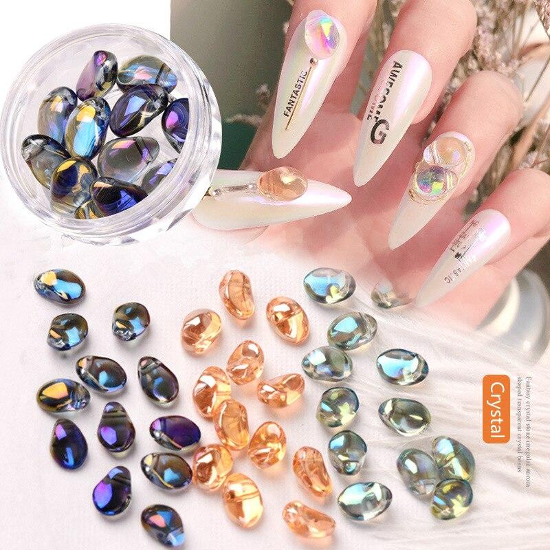 12pcs/box Crystal AB Nail Art Decorations Aurora Irregular Pixie Stones Jewelry 3D Shiny Rhinestones Japanese Nails Accessories