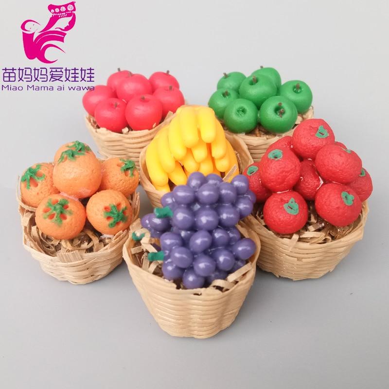 Doll House Accessories Mini Fruit Vegetable Grape Tamato Apple Orange Banana Toys For Barbie Doll Diy Shop Store Accessories