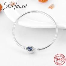Gerçek 925 ayar gümüş yuvarlak şekil kalp mavi CZ Charms yılan kemik zinciri bilezik moda kadınlar takı sevgililer gün