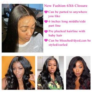 Image 3 - Queenlike 6*6 Vetersluiting En Menselijk Haar Bundels Met 6X6 Sluiting Braziliaanse Hair Weave Bundels Straight 3 Bundels Met Sluiting
