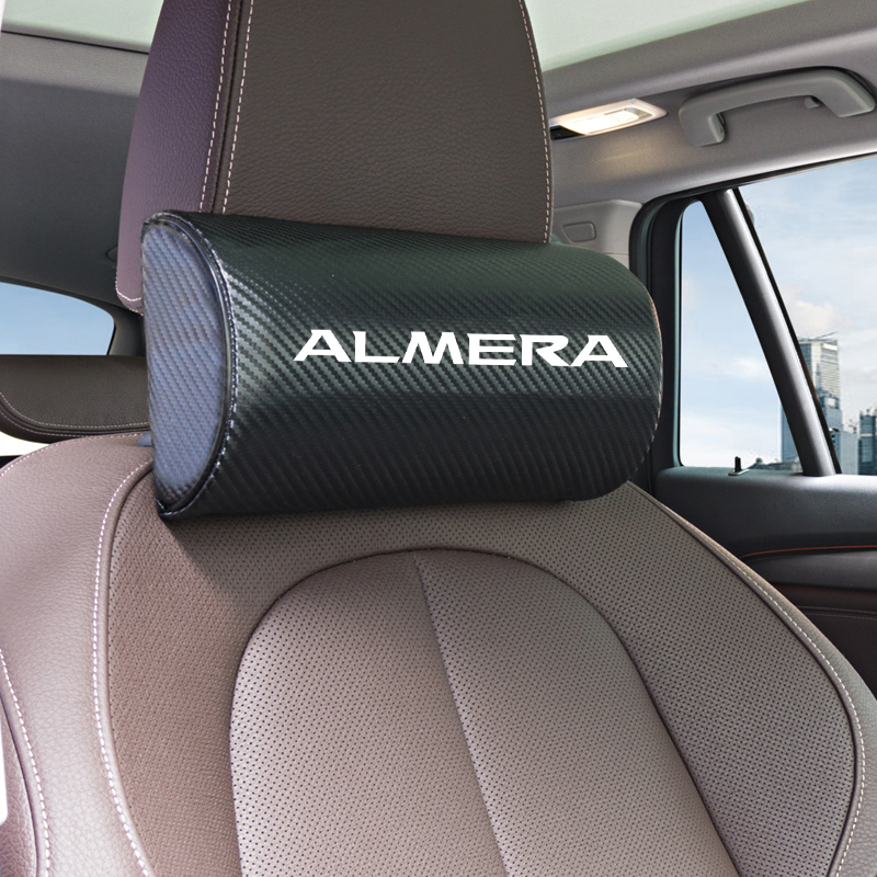 1pcs Car Neck Pillows Both Side Pu Leather Single Headrest Case For Nissan ALMERA Teana Skyline Juke Accessories Car Styling