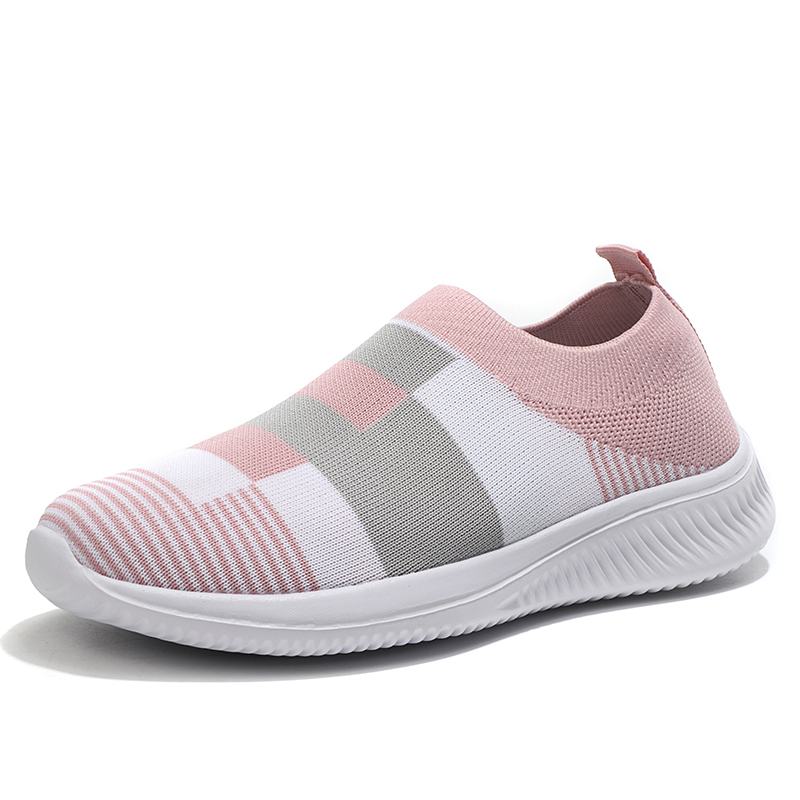 Women's Casual Vulcanized Shoes Woman Mesh Sneakers Women Knitted Flat Ladies Slip On Female Footwear Size 42 Feminino Zapatos