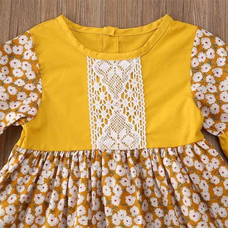 חדש קיץ Boho שמלת פעוט ילד תינוק בנות דייזי אבוקה שרוול תחרה נסיכת פרחוני המפלגה תחרות חתונה רשמי שמלת חג