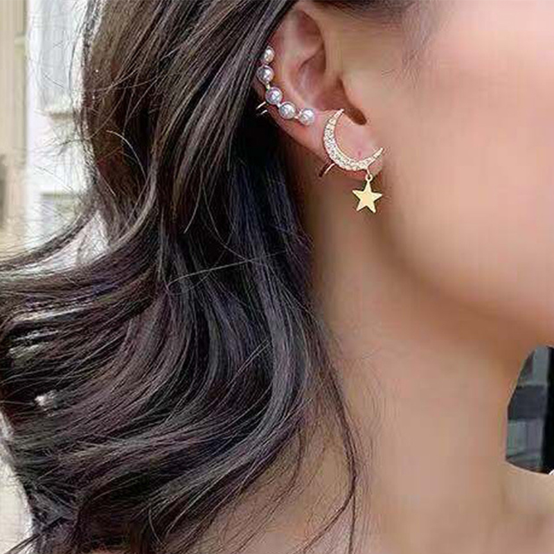 KISSWIFE 2Pcs/Set Exquisite Star Moon Pearl Ear Clip Earring For Women Charm Wedding Fashion Jewelry Gift
