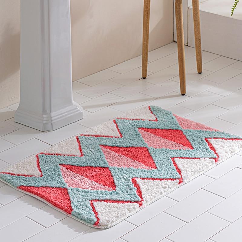 Geometric Area Rug Bathroom Carpet Home Living Room Nordic Tapis Toilet Kitchen Floor Mat Door Mats Anti Slip Rugs Dorm Decor