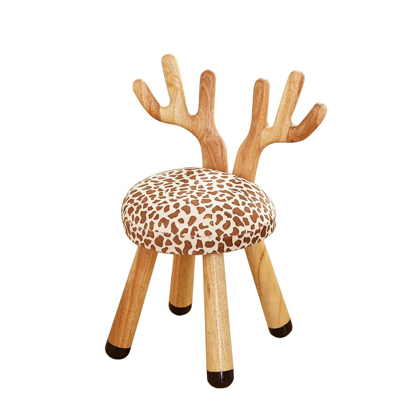 Nordic Children's Bench Back Chair Cartoon Animal Stool Cute Deer Chair Home Solid Wood Baby Short Stool